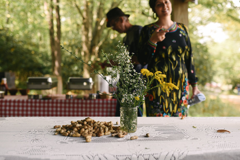 Mountain Wedding, Outdoors, Rustic, West Virginia, Maryland Wedding Photographer, DIY, Casual, Table setting at reception, Wildflowers