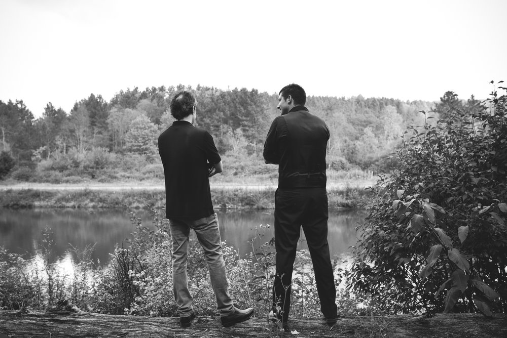 Mountain Wedding, Outdoors, Rustic, West Virginia, Maryland Wedding Photographer, DIY, Casual, Wedding guests standing and talking at Blackwater River, Black and White River