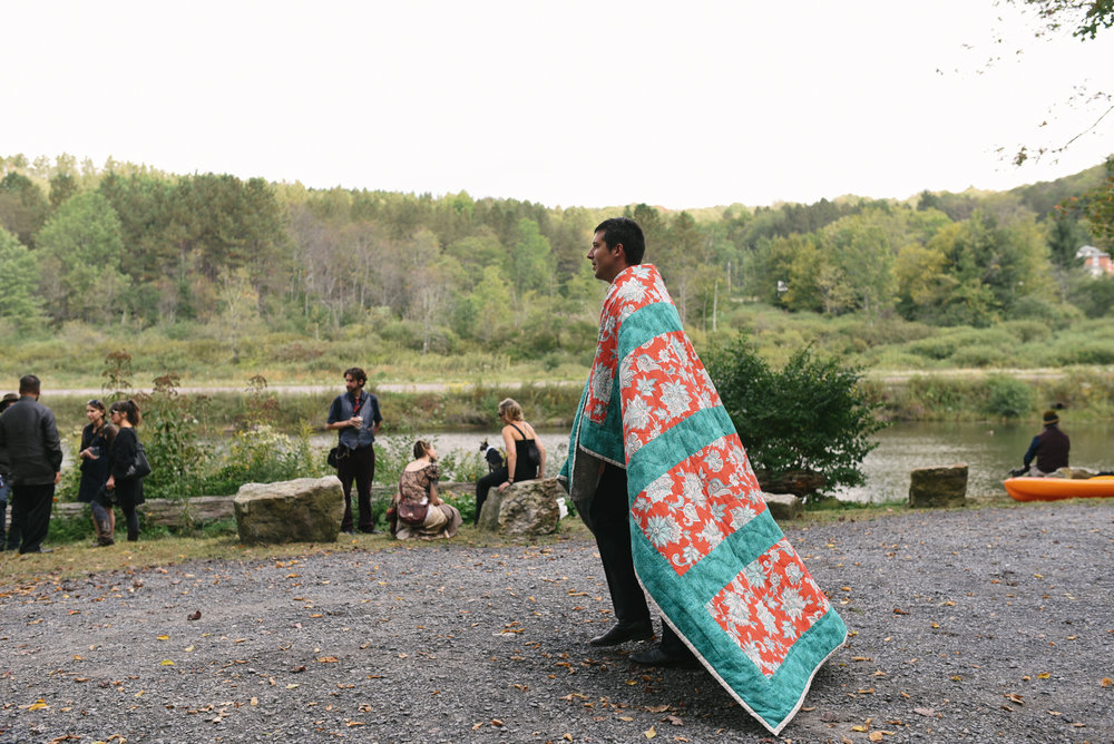 Mountain Wedding, Outdoors, Rustic, West Virginia, Maryland Wedding Photographer, DIY, Casual, Wedding guests hanging out before ceremony, Floral Quilt