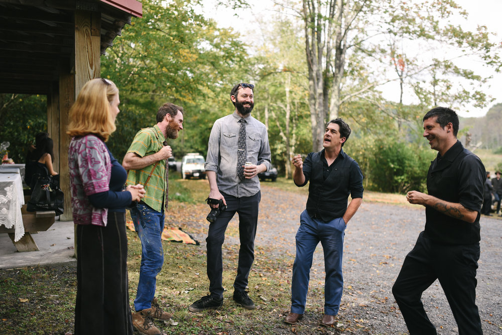 Mountain Wedding, Outdoors, Rustic, West Virginia, Maryland Wedding Photographer, DIY, Casual, Guests chatting outside before ceremony
