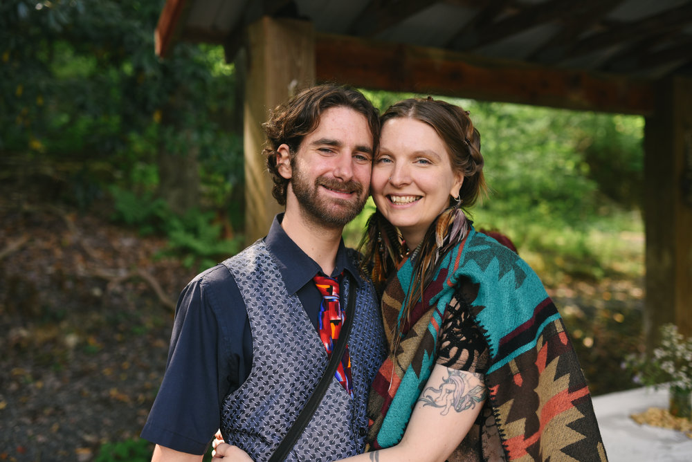 Mountain Wedding, Outdoors, Rustic, West Virginia, Maryland Wedding Photographer, DIY, Casual, Portrait of wedding guests, Sweet couple at ceremony