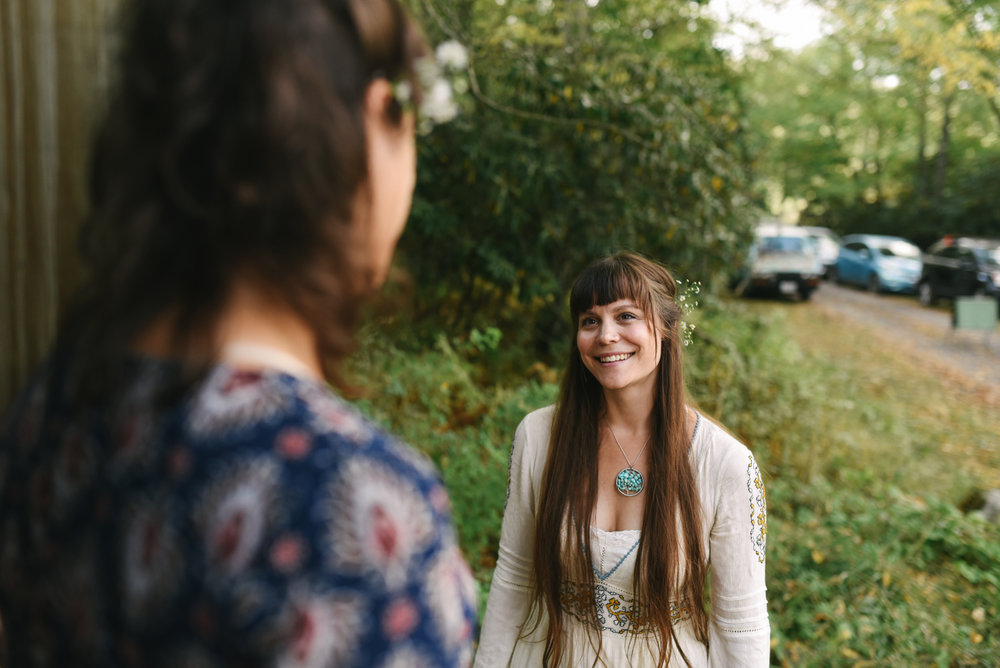 Mountain Wedding, Outdoors, Rustic, West Virginia, Maryland Wedding Photographer, DIY, Casual, Bride smiling and getting ready for ceremony