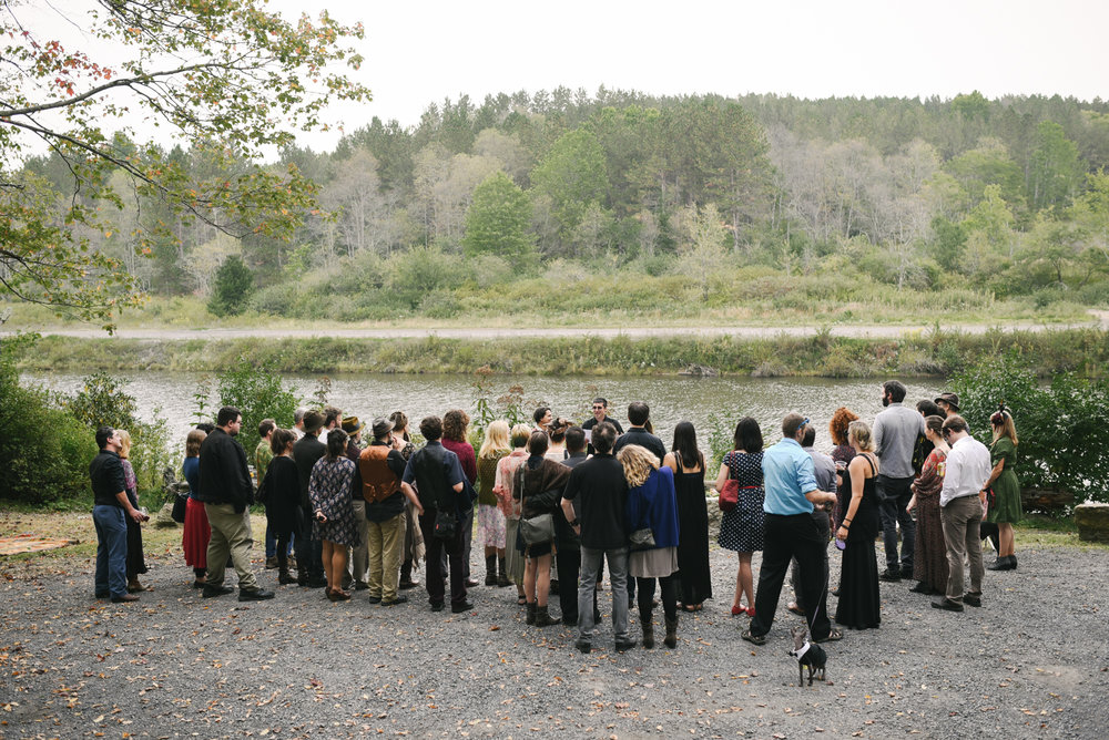 Mountain Wedding, Outdoors, Rustic, West Virginia, Maryland Wedding Photographer, DIY, Casual, Guests gathering to watch ceremony, cat with bowtie, pets