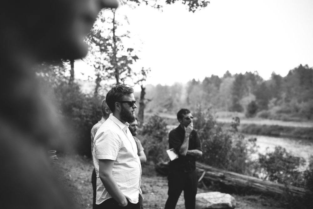 Mountain Wedding, Outdoors, Rustic, West Virginia, Maryland Wedding Photographer, DIY, Casual, black and white photo, guests watching ceremony