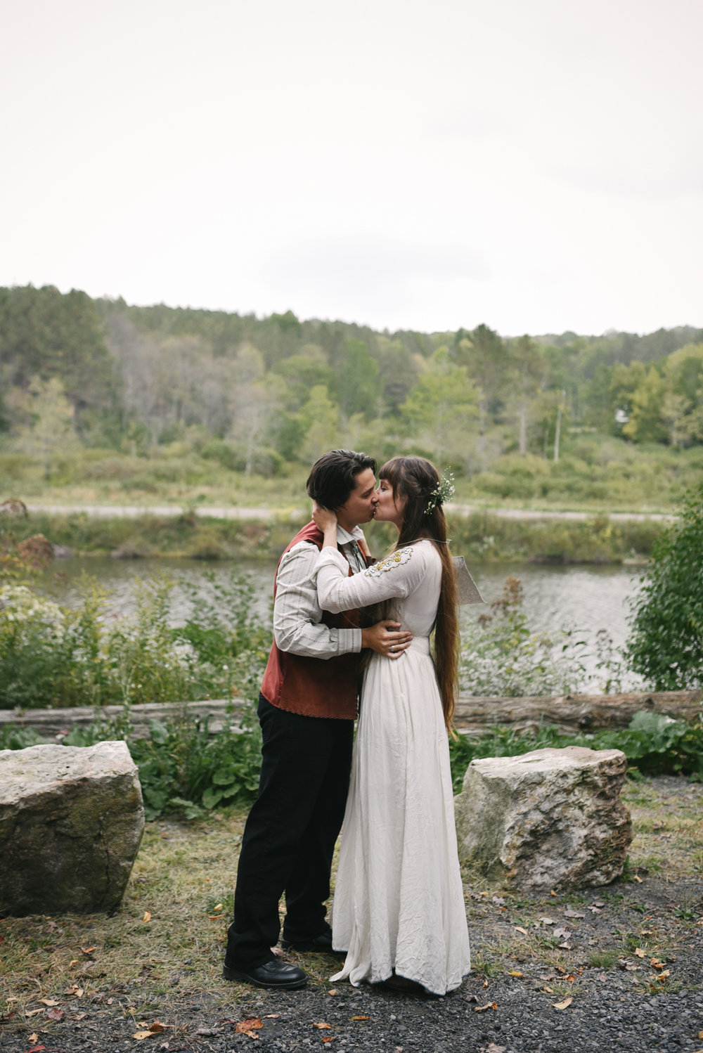 Mountain Wedding, Outdoors, Rustic, West Virginia, Maryland Wedding Photographer, DIY, Casual, bride and groom sharing first kiss, first kiss photo