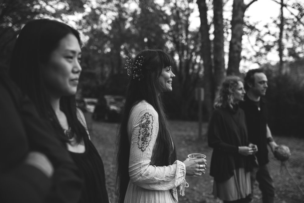 Mountain Wedding, Outdoors, Rustic, West Virginia, Maryland Wedding Photographer, DIY, Casual, black and white photo, bride laughing with guests