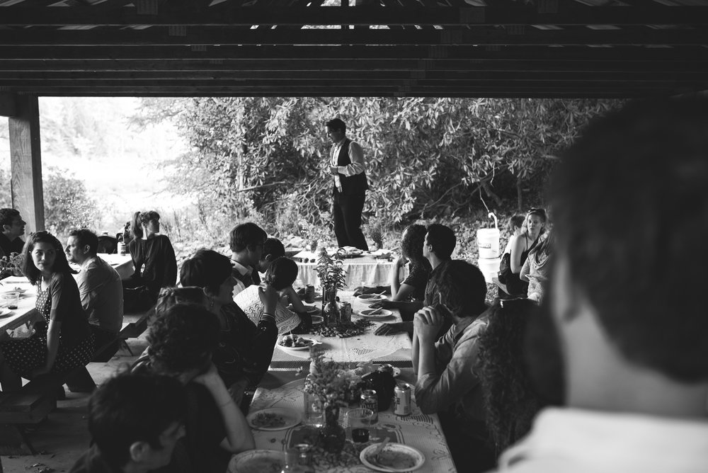 Mountain Wedding, Outdoors, Rustic, West Virginia, Maryland Wedding Photographer, DIY, Casual, groom standing on chair at reception, black and white photo