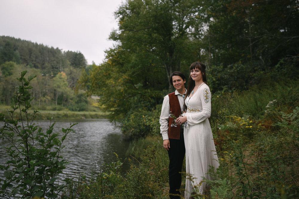 Mountain Wedding, Outdoors, Rustic, West Virginia, Maryland Wedding Photographer, DIY, Casual, bride and groom posing alongside river, Blackwater River