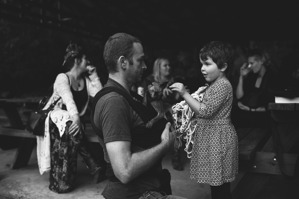 Mountain Wedding, Outdoors, Rustic, West Virginia, Maryland Wedding Photographer, DIY, Casual, black and white photo, little girl petting hairless cat