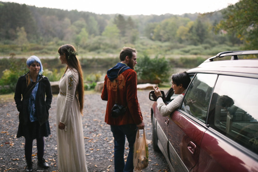 Mountain Wedding, Outdoors, Rustic, West Virginia, Maryland Wedding Photographer, DIY, Casual, guests leaving reception, bride saying goodbye to guests