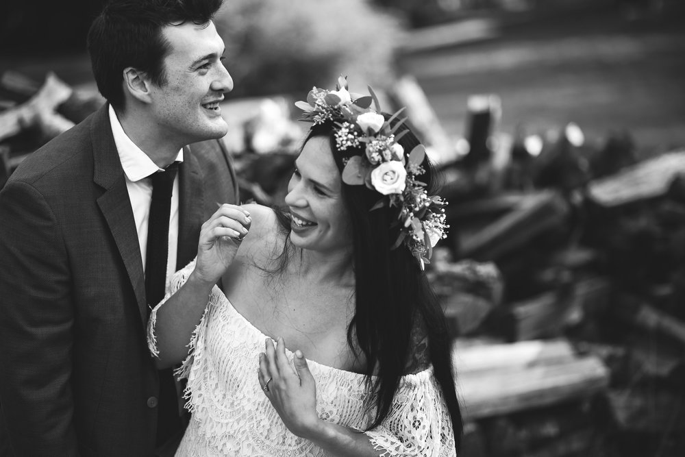Maryland, Eastern Shore, Baltimore Wedding Photographer, Romantic, Boho, Backyard Wedding, Nature, Bride and Groom Laughing Together, Black and White Photo, Flower Crown