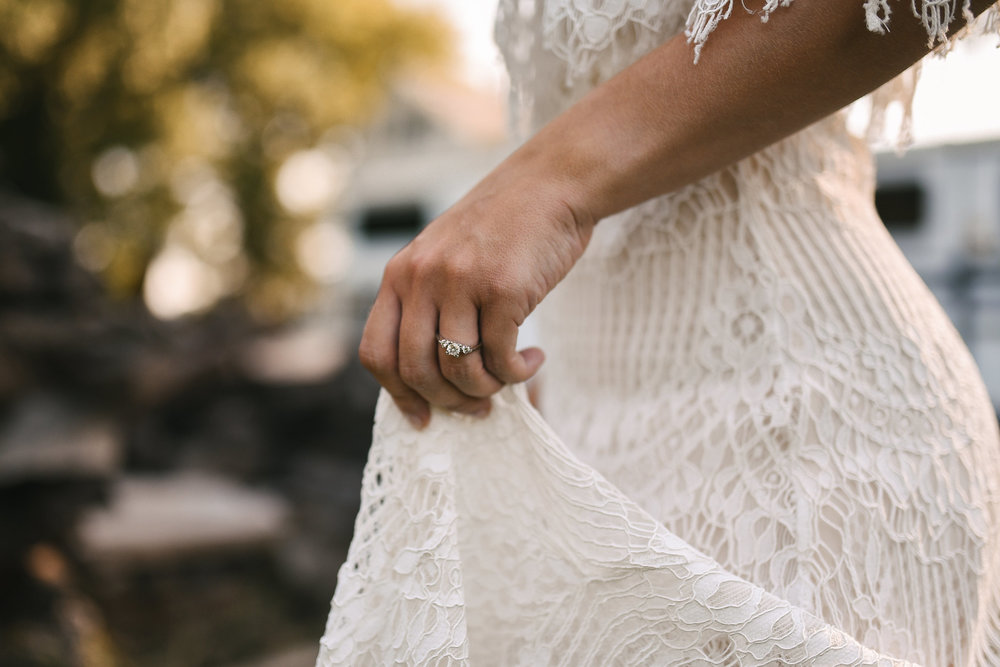 Maryland, Eastern Shore, Baltimore Wedding Photographer, Romantic, Boho, Backyard Wedding, Nature, Detail Photo of Engagement Ring and Lace Wedding Dress, Daughters of Simone Dress
