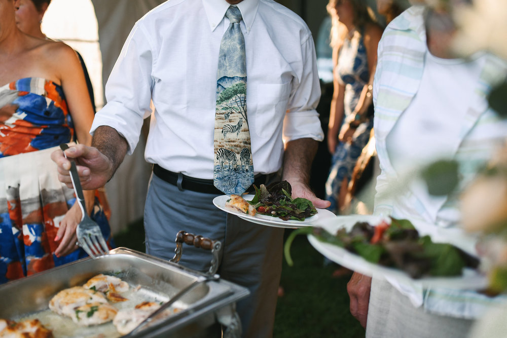 Maryland, Eastern Shore, Baltimore Wedding Photographer, Romantic, Boho, Backyard Wedding, Nature, Wedding Guests at Reception Buffet, Ken's Creative Kitchen