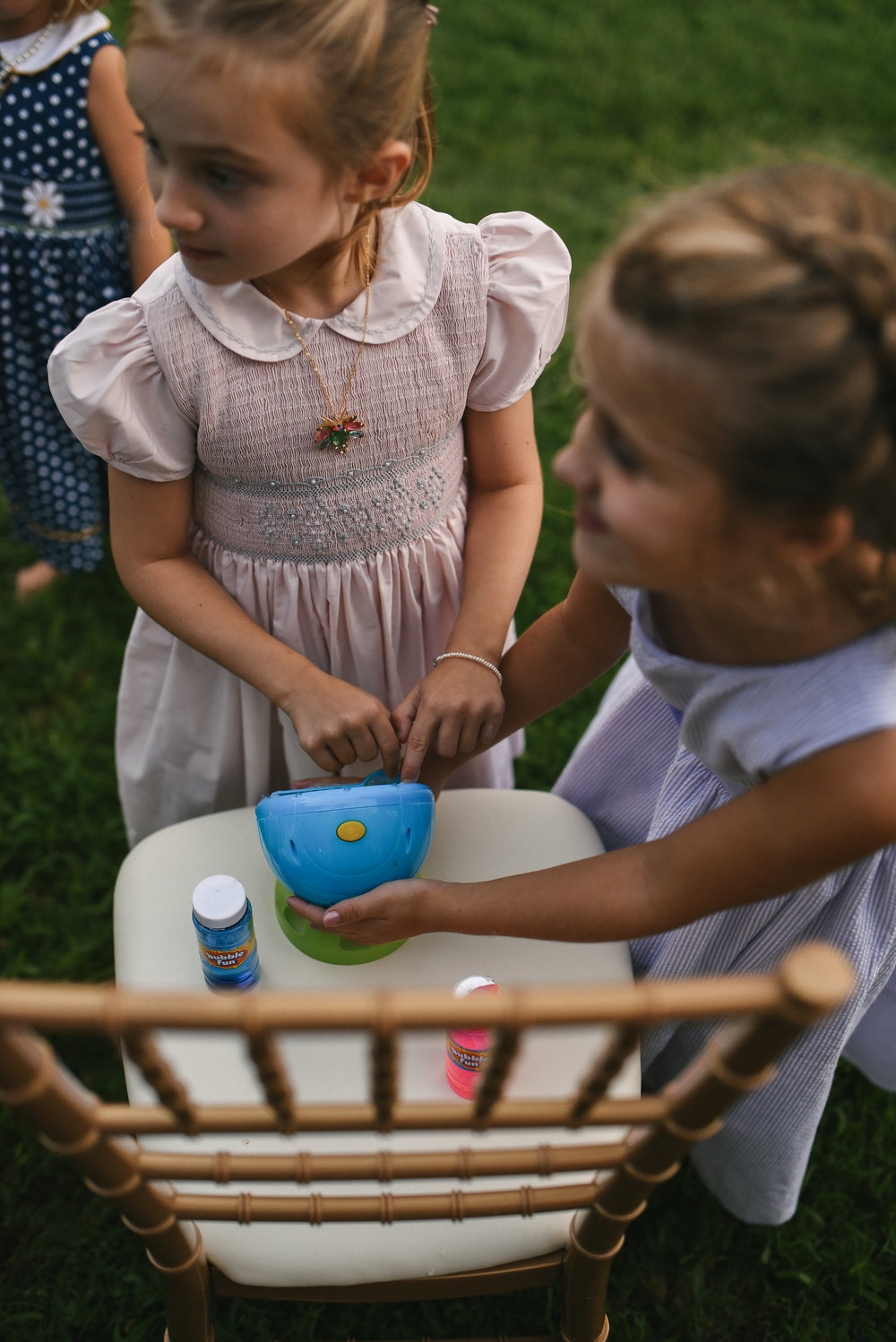 Maryland, Eastern Shore, Baltimore Wedding Photographer, Romantic, Boho, Backyard Wedding, Nature, Little Girls Playing with Bubbles at Reception