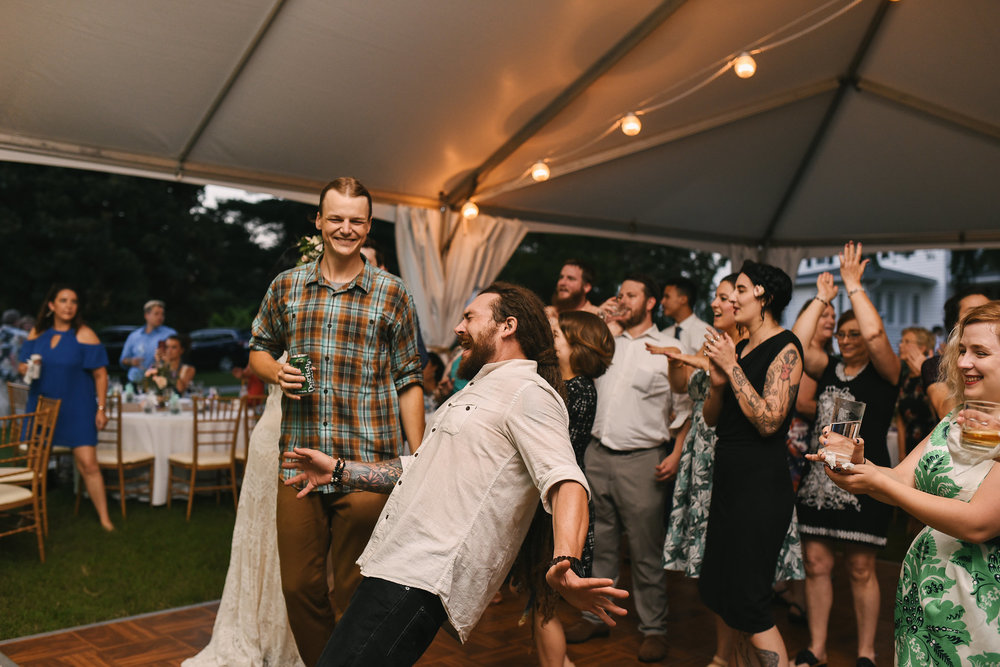 Maryland, Eastern Shore, Baltimore Wedding Photographer, Romantic, Boho, Backyard Wedding, Nature, Fun Photo of Friends Dancing at Reception, Outdoor Reception