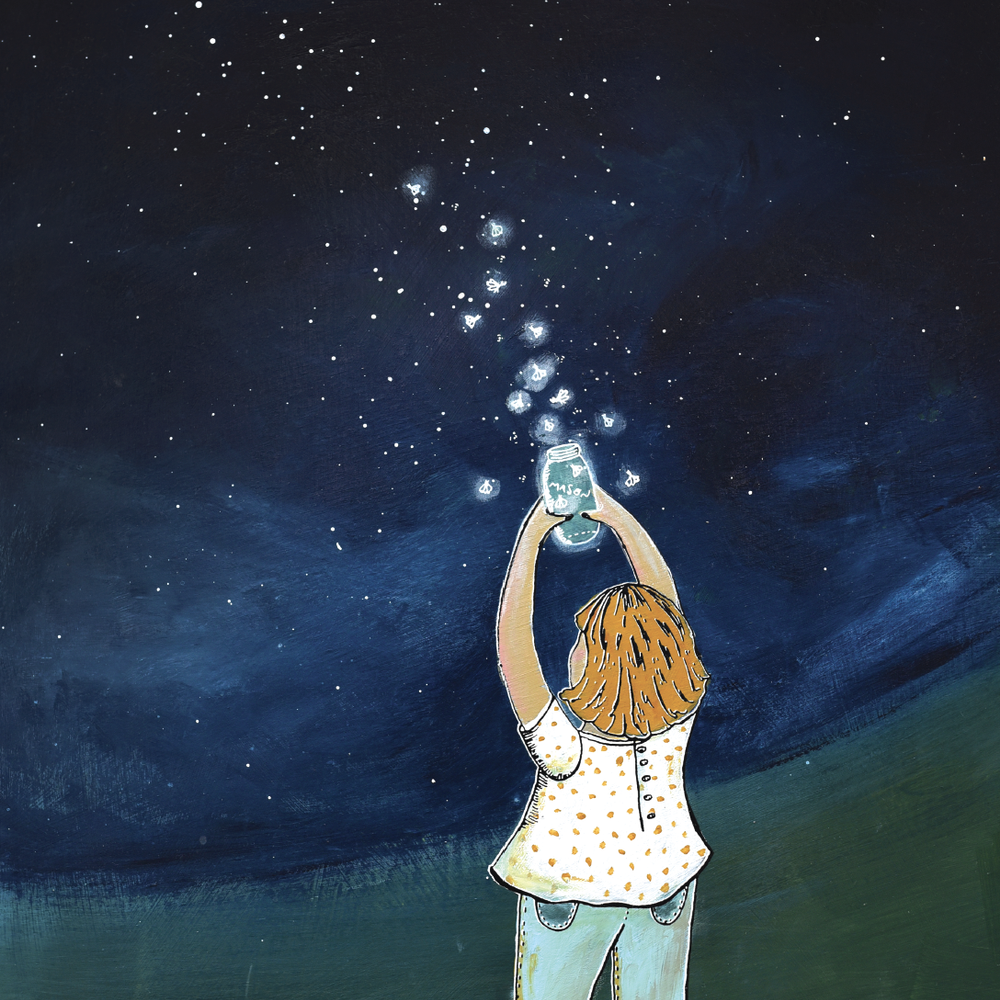 fireflies night sky painting