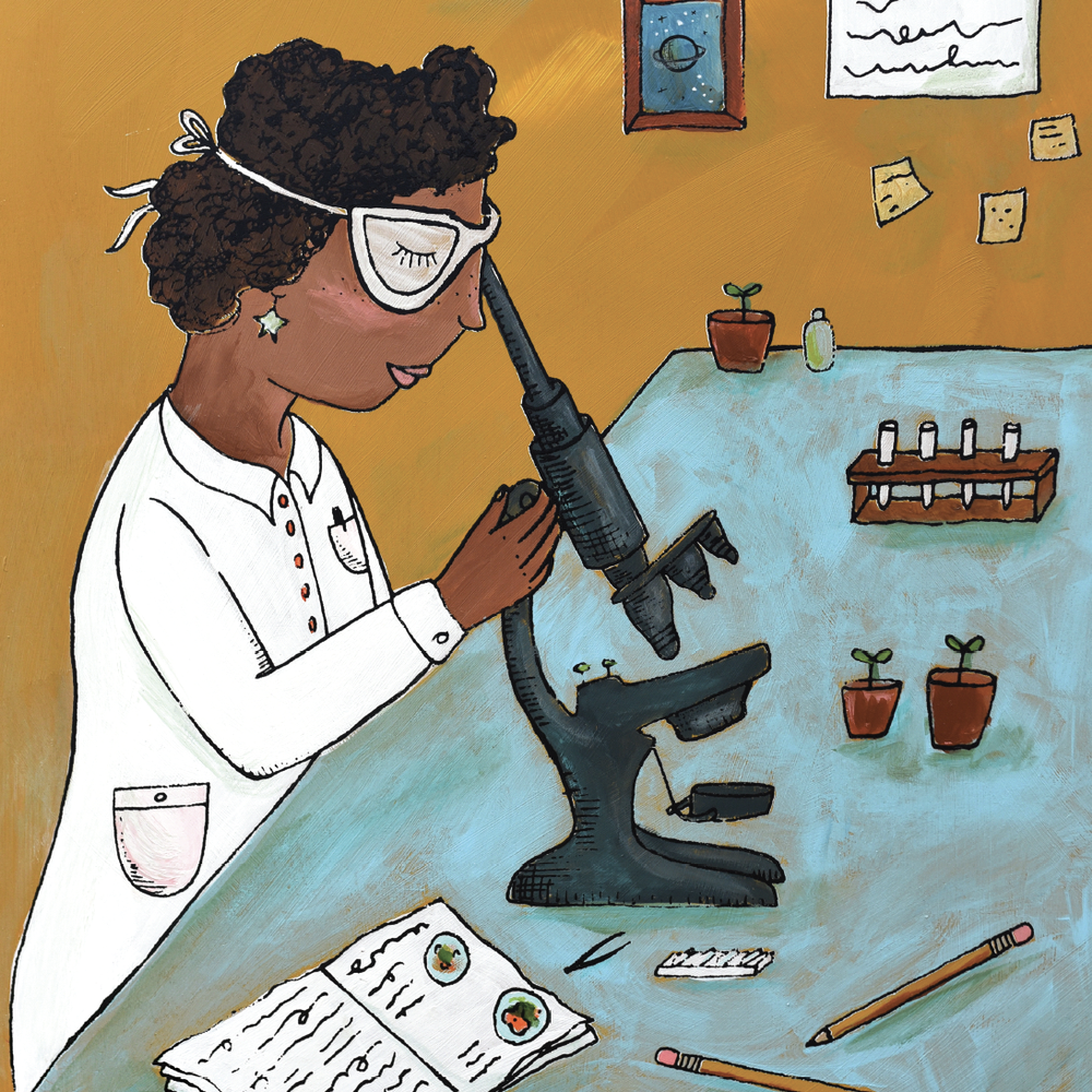 african american female scientist illustration