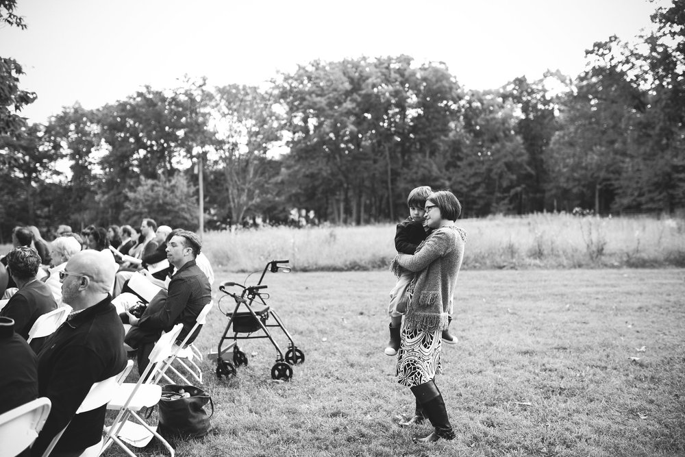 Vintage, DIY, Rustic, Germantown, Maryland Wedding Photographer, Alternative, Casual, Outdoor Wedding, Church Wedding, Whimsical, Campground, Black and White Photo, Wedding Guests
