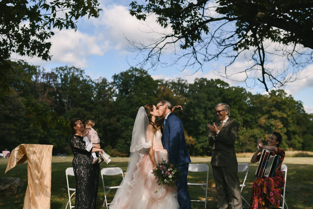 Vintage, DIY, Rustic, Germantown, Baltimore Wedding Photographer, Alternative, Casual, Outdoor Wedding, Church Wedding, Whimsical, Campground, Wedding Ceremony, First Kiss, Bride and Groom