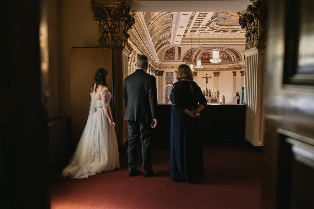Baltimore, Canton, Church Wedding, Modern, Outdoors, Maryland Wedding Photographer, Romantic, Classic, Bride with parents inside St. Casimir Church