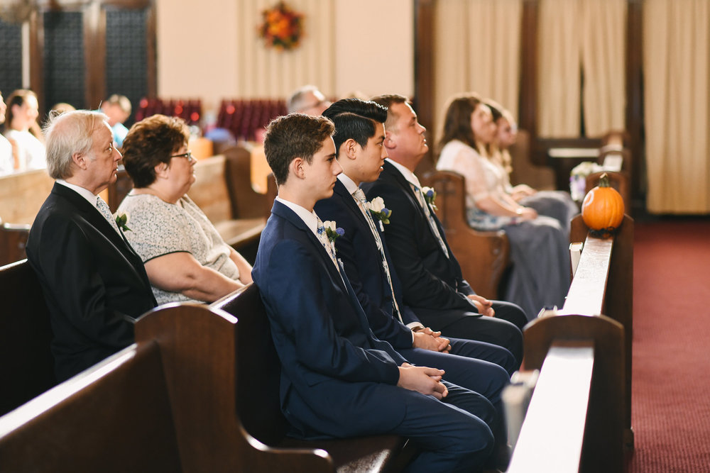 Baltimore, Canton, Church Wedding, Modern, Outdoors, Maryland Wedding Photographer, Romantic, Classic, St. Casimir Church, Guests and Groomsmen watching ceremony