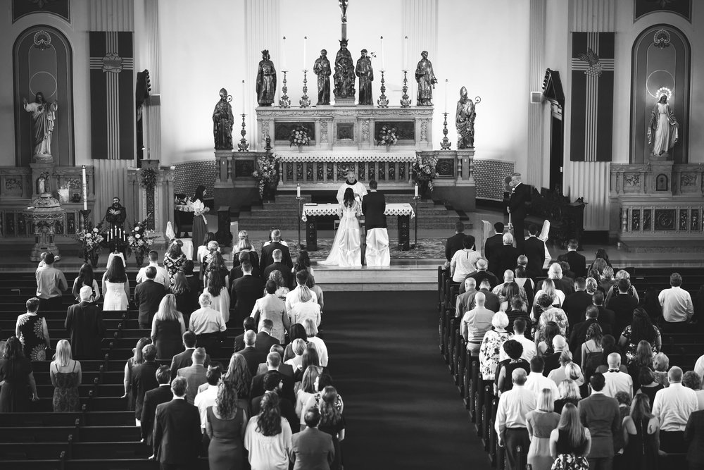 Baltimore, Canton, Church Wedding, Modern, Outdoors, Maryland Wedding Photographer, Romantic, Classic, St. Casimir Church, Black and White Photo, Bride and Groom at Altar, Photo from Above of ceremony
