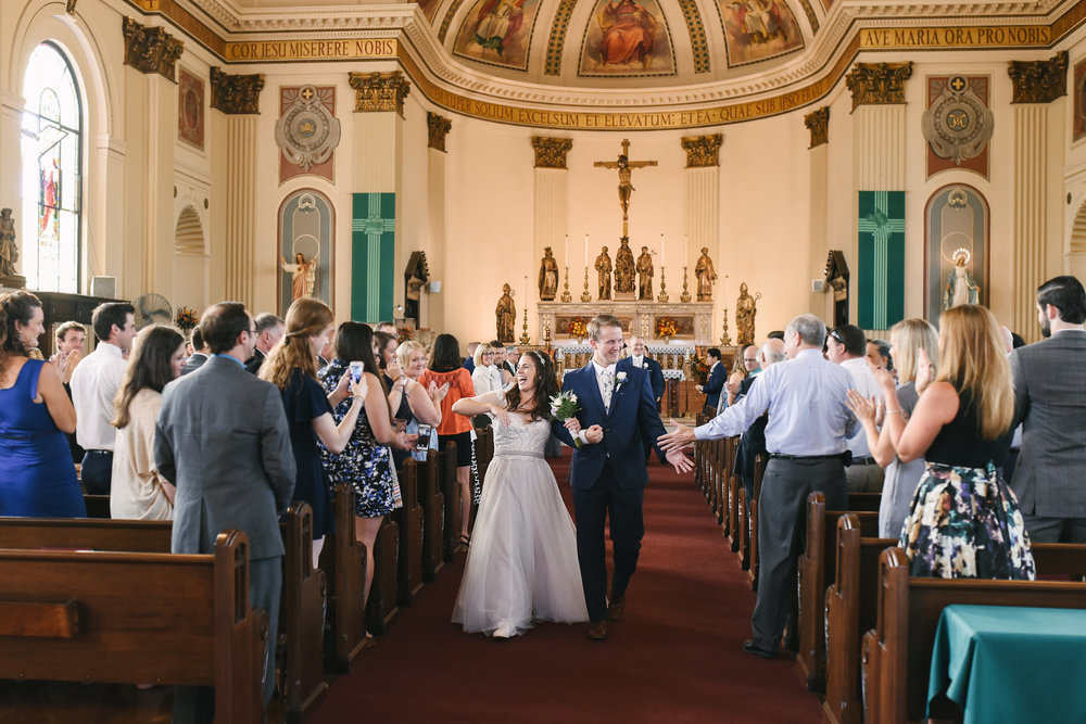 Baltimore, Canton, Church Wedding, Modern, Outdoors, Maryland Wedding Photographer, Romantic, Classic, St. Casimir Church, Bride and Groom laughing and walking down aisle, Just married