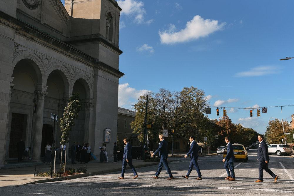 Baltimore, Canton, Church Wedding, Modern, Outdoors, Maryland Wedding Photographer, Romantic, Classic, Groom and Groomsmen walking across street, Walking Downtown