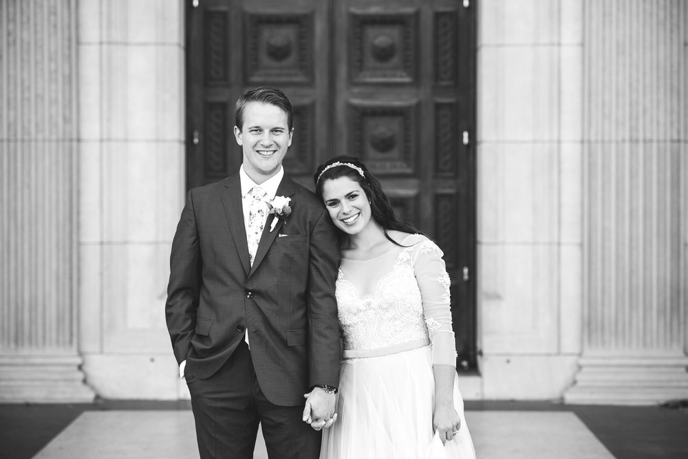 Baltimore, Canton, Church Wedding, Modern, Outdoors, Maryland Wedding Photographer, Romantic, Classic, St. Casimir Church, black and white photo, portrait of bride and groom holding hands outside of church