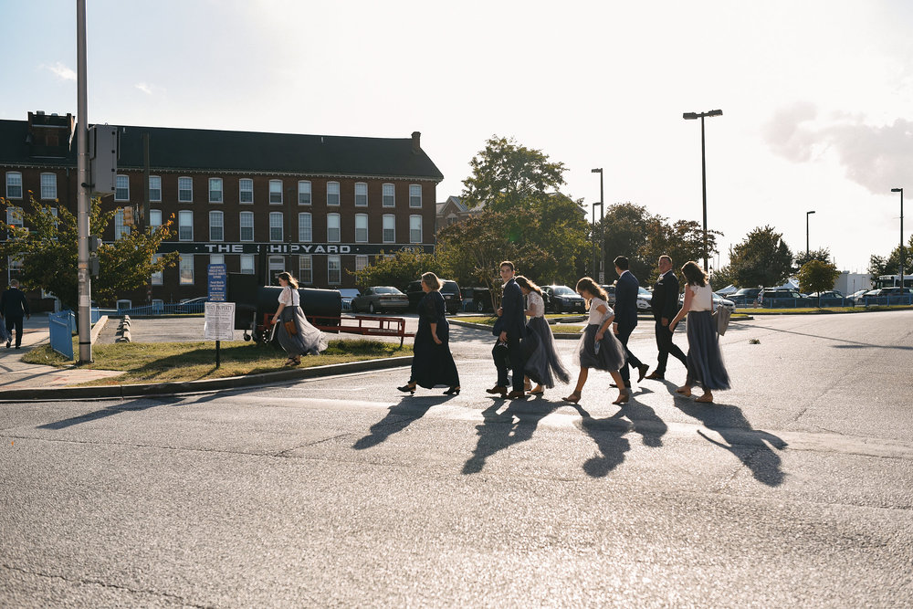 Baltimore, Canton, Church Wedding, Modern, Outdoors, Maryland Wedding Photographer, Romantic, Classic, St. Casimir Church, wedding party crossing street in downtown Baltimore