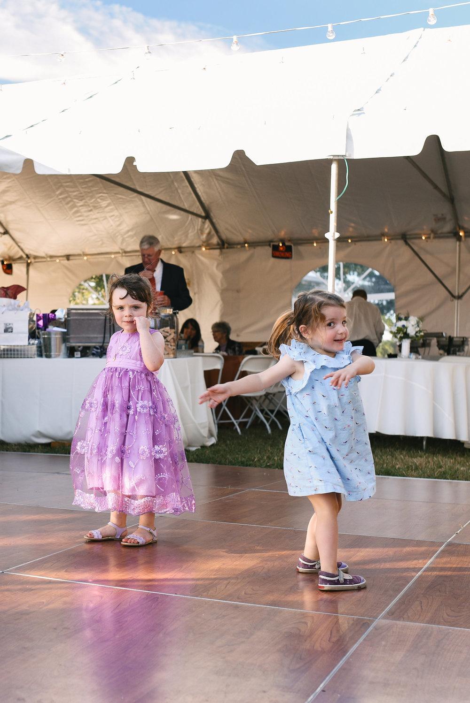 Baltimore, Canton, Church Wedding, Modern, Outdoors, Maryland Wedding Photographer, Romantic, Classic, St. Casimir Church, Cute photo pf little girls dancing at reception