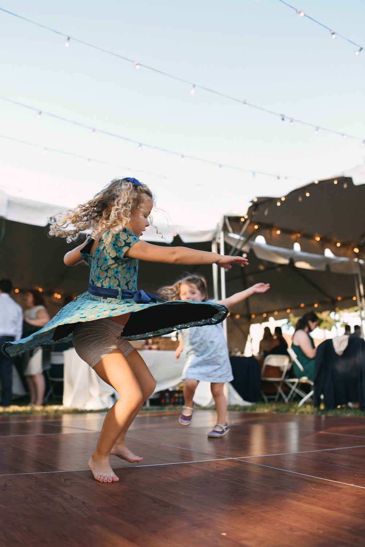 Baltimore, Canton, Modern, Outdoor Reception, Maryland Wedding Photographer, Romantic, Classic, Boston Street Pier Park, Cute photo of little girls dancing and spinning on dancefloor