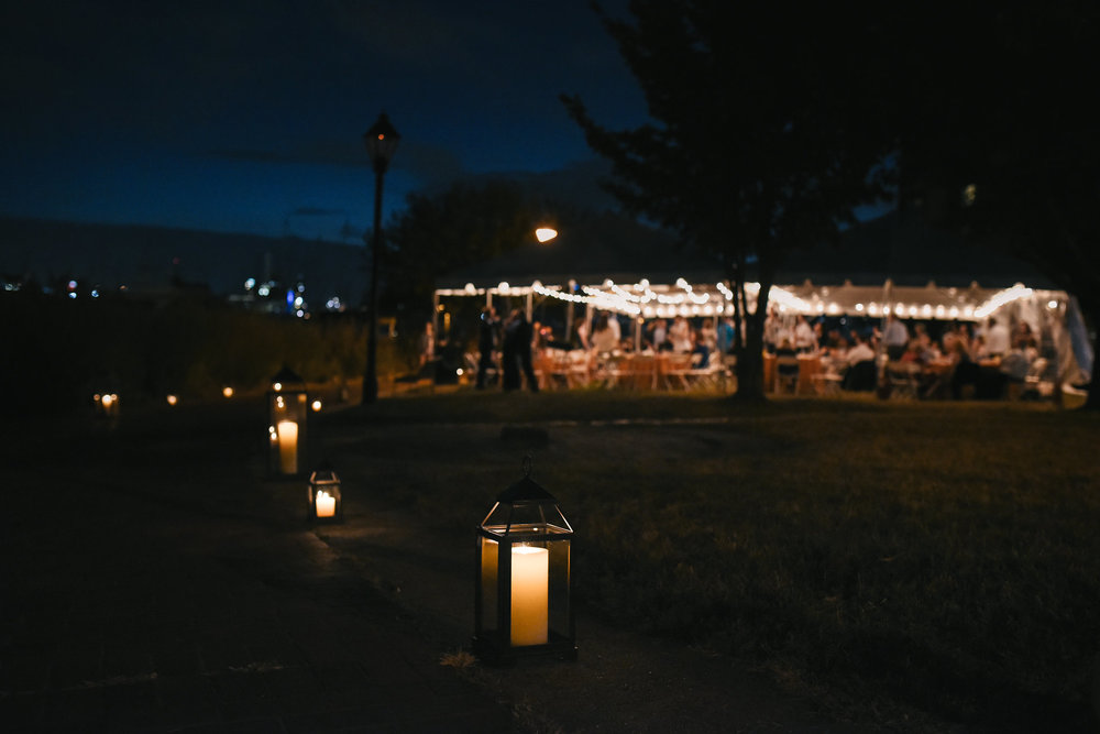Baltimore, Canton, Modern, Outdoor Reception, Maryland Wedding Photographer, Romantic, Classic, Boston Street Pier Park, Lanterns along waterfront, Reception with string lights at night