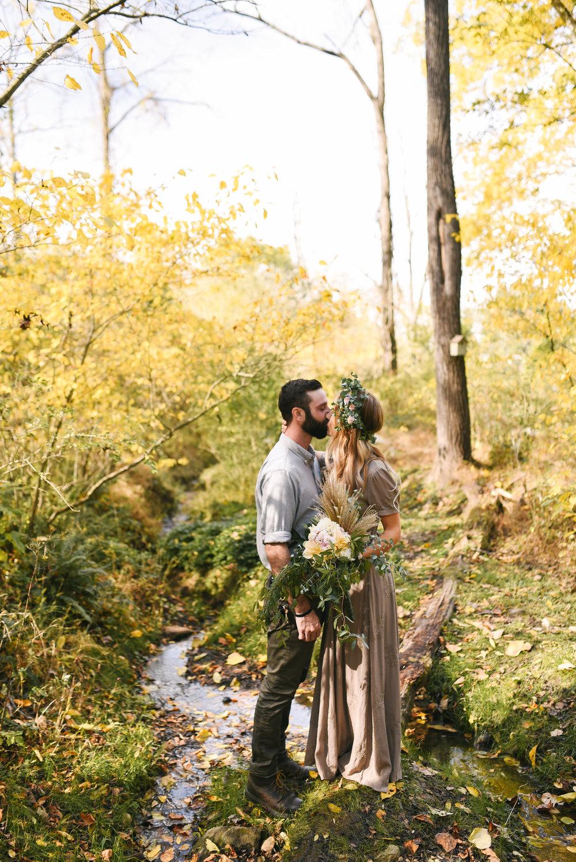 Baltimore, Maryland Wedding Photographer, Backyard Wedding, DIY, Rustic, Casual, Fall Wedding, Woodland, Flower Crown, Linen Wedding Dress, Eucalyptus