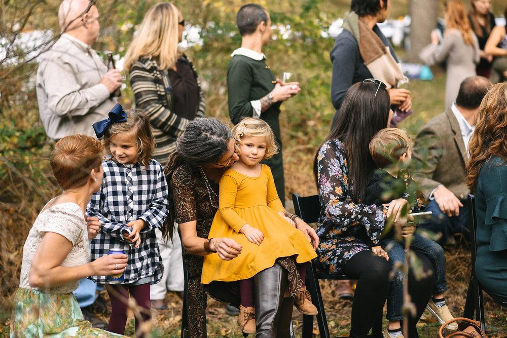 Baltimore, Maryland Wedding Photographer, Backyard Wedding, DIY, Rustic, Casual, Fall Wedding, Woodland, Children Gathering at Outdoor Ceremony