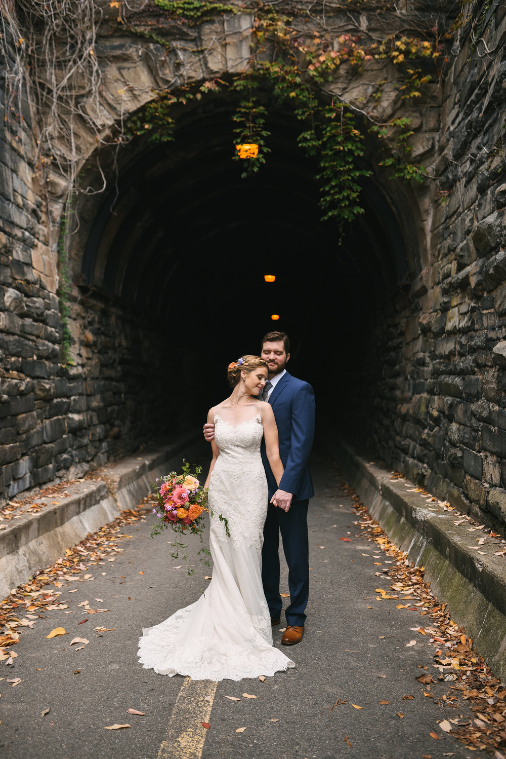Alexandria, Virginia, Fall Wedding, Historic Wedding, Old Town, DC, Wilkes Street Tunnel, Lian Carlo Wedding Dress, Lace Wedding Dress, Secluded Moments, The Enchanted Florist Bouquet