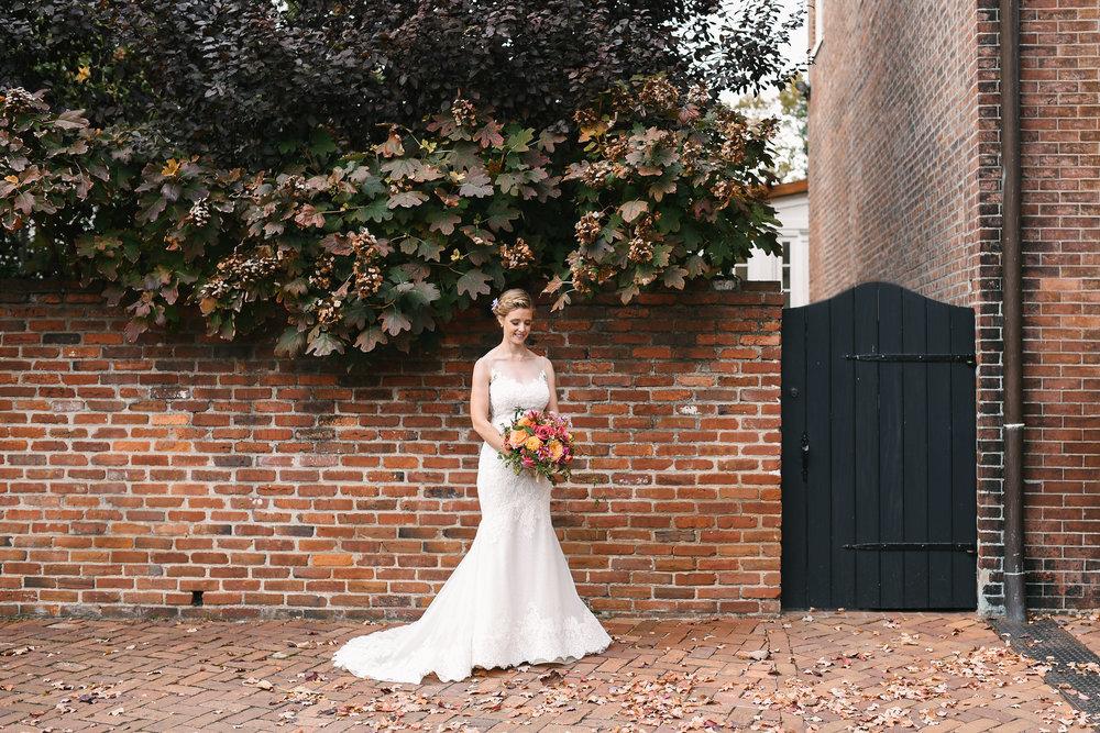 Alexandria, Virginia, Fall Wedding, Autumn, Old Town, DC, Lian Carlo Wedding Dress, The London Bob Hair Design, The Enchanted Florist Bouquet, Rustic