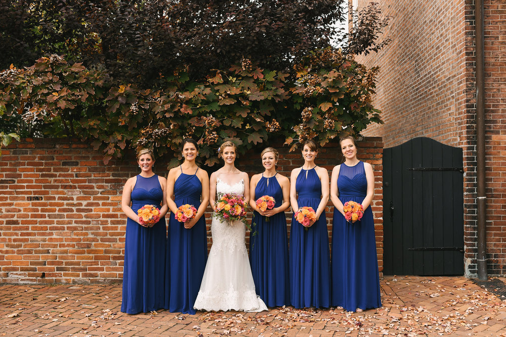 Alexandria, Virginia, Fall Wedding, Historic Wedding, Old Town, DC, Lian Carlo Wedding Dress, Lace Wedding Dress, The Enchanted Florist Bouquet, Bride and Bridesmaids, Blue Bridesmaid Dresses