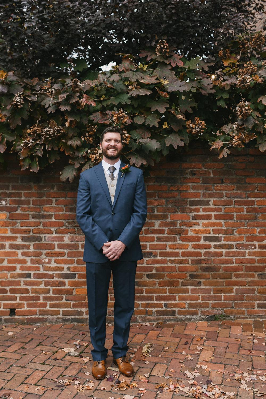 Alexandria, Virginia, Fall Wedding, Historic Wedding, Old Town, DC, Jos A. Bank Suit, Groom Photo