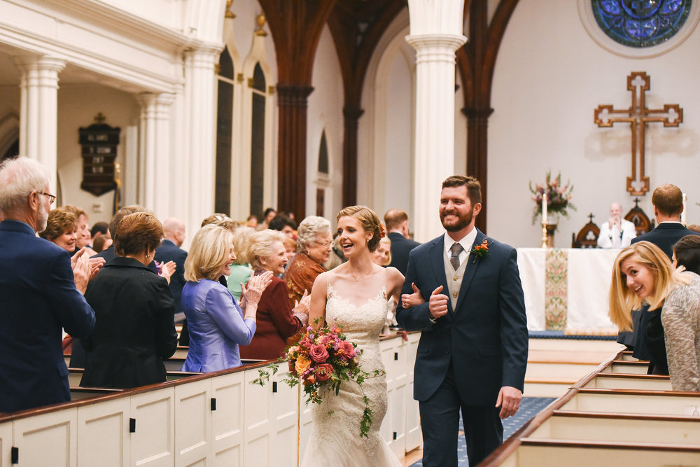 Alexandria, DC, Jos A. Bank Suit, Lian Carlo Wedding Dress, The Enchanted Florist, St. Paul's Episcopal Church, Church Wedding, Ceremony, Bride and Groom, Just Married