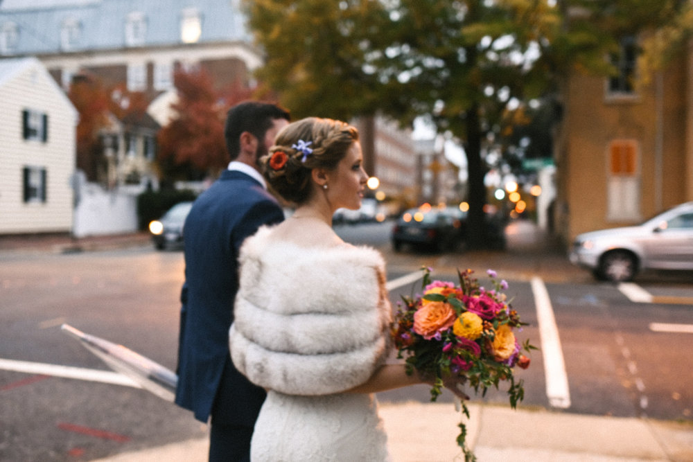 Alexandria, DC, Jos A. Bank Suit, Lian Carlo Wedding Dress, Bride and Groom, Candid Photo, Old Town, The Enchanted Florist, Wedding Flowers, Evening Wedding