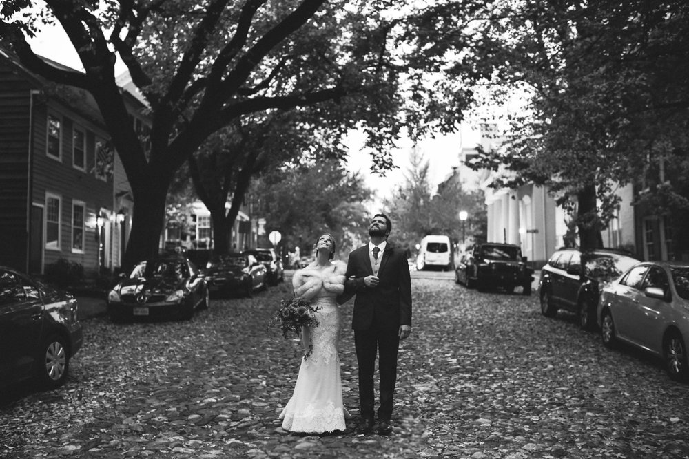 Alexandria, DC, Jos A. Bank Suit, Lian Carlo Wedding Dress, Bride and Groom, Old Town, Black and White Photo, Evening Wedding, City Wedding, Baltimore Wedding Photographer