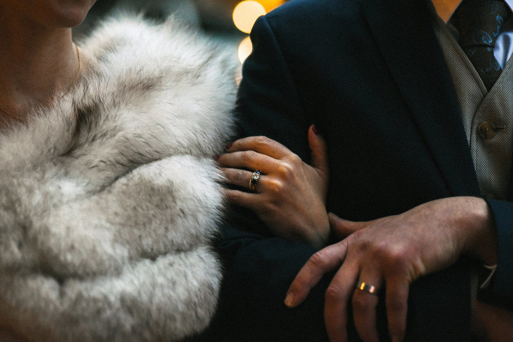Alexandria, DC, Romantic, Vintage, Rustic, Bride and Groom, Wedding Detail, Wedding Rings, Forrell C. Jewelry, Fur Wrap