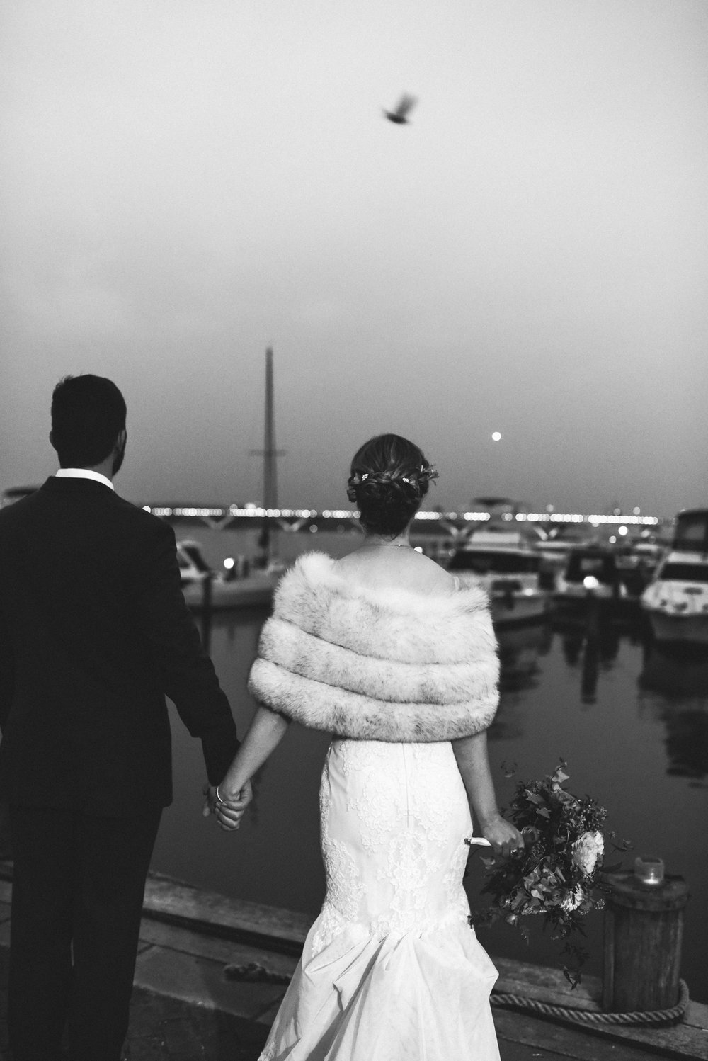 Alexandria, DC, Harbor, The London Bob Hair Design, Lian Carlo Wedding Dress, Bride and Groom, Black and White Photo, Evening Wedding, City Wedding,