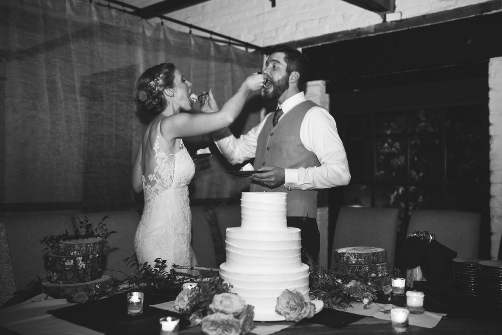 Alexandria, DC, Lian Carlo Wedding Dress, Bride and Groom, Black and White Photo, Virtue Feed and Grain, Reception, Wedding Cake, Pastries by Rudolph, Cutting the Cake, Baltimore Wedding Photographer