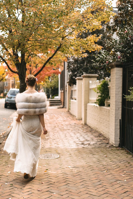 Alexandria, Virginia, Fall Wedding, Autumn, Historic Wedding, Old Town, DC, Lian Carlo Wedding Dress, The London Bob Hair Design