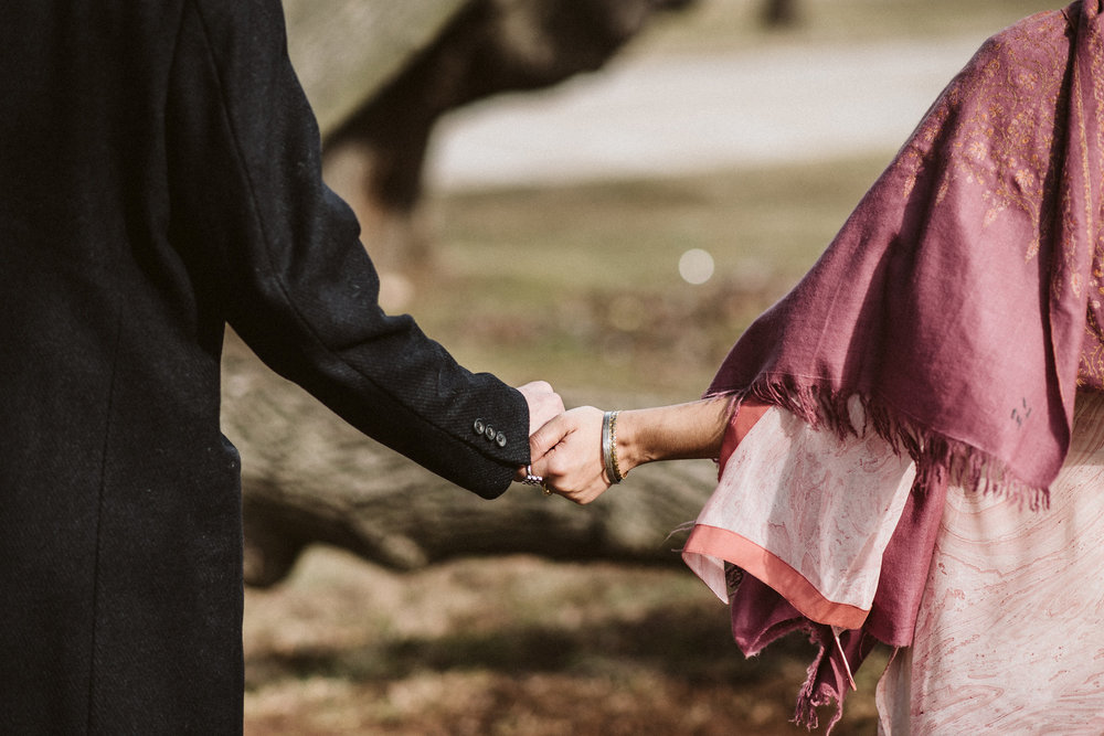 Elopement, Weekday Wedding, Towson, Rawlings Conservatory, Greenhouse, Baltimore Wedding Photographer, Indian American, Outdoor, Nature, Romantic, Garden, Bride and Groom Holding Hands, Pink Sari