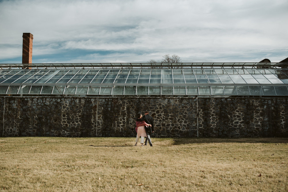 Elopement, Weekday Wedding, Towson, Rawlings Conservatory, Greenhouse, Maryland Wedding Photographer, Indian American, Outdoor, Nature, Romantic, Garden, Bride and Groom Walking Outside, Hugging