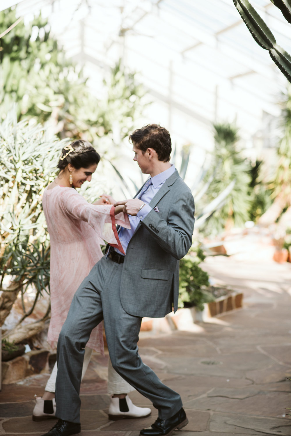 Elopement, Weekday Wedding, Baltimore, Rawlings Conservatory, Greenhouse, Maryland Wedding Photographer, Indian American, Nature, Romantic, Garden, Bride and Groom Dancing, Candid Photo, Sweet Moment