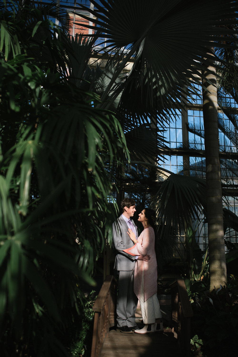 Baltimore, Rawlings Conservatory, Greenhouse, Maryland Wedding Photographer, Indian American, Nature, Romantic, Garden, Secluded Moments, Bride and Groom Laughing, Whimsical